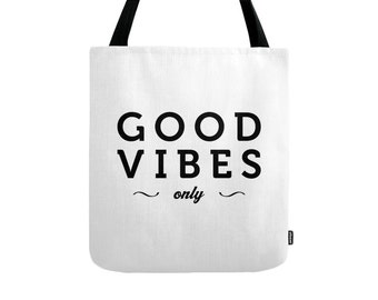 Good Vibes tote bag Good vibes only tote bag good vibes bag good vibes only bag typography tote bag typography bag Latte2Wear