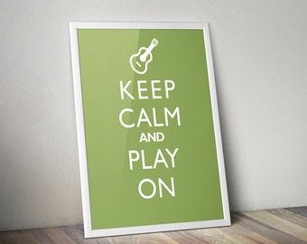 "Music Decor Art Print ""Keep Calm And Play On"" Guitar Poster Print"