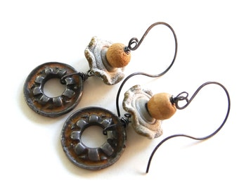 Handmade Earrings - Rustic - Industrial - Artisan  - Patina  - Steampunk - Rusty Gold -  Mixed Metal