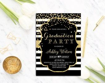 Graduation Party Invitation - Graduation Invitations - College Graduation Party Invitation - Printable graduation invitations , Gold glitter