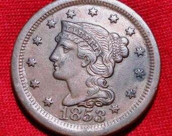 USA 1853 Copper Braided  Hair Large Cent AU Condition