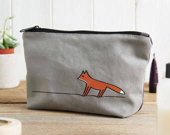 Fox Zip Bag, Fox Makeup Bag, Fox Travel Bag, Fox Pencil Case, Gift for Fox Lovers, Fox Lover Gifts, Foxes
