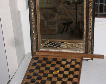 French Draughts and Games Board - Vintage Game of Snakes and Ladders - Wooden Chess Board