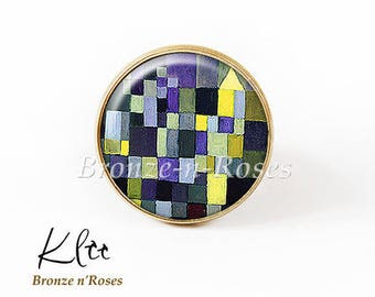 Ring * tiles * table paul Klee yellow blue bronze cabochon glass costume jewelry