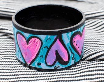 Heart Bangle Bracelet - Hand Painted Bangle - Love Bracelet - Upcycled Jewelry - Gift for Her - Wearable Art