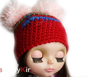 SimplyKir PomPom  blythe  hat (PreMade)