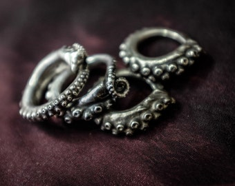 Solid Sterling Silver Octopus Tentacle Ring