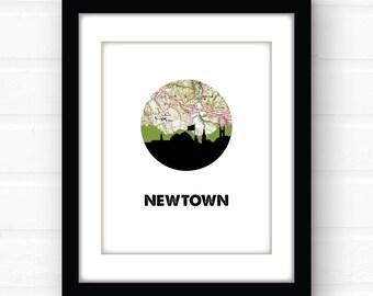 Newtown Connecticut art print | Connecticut map art | Connecticut print | New England home decor | Connecticut home decor | skyline art