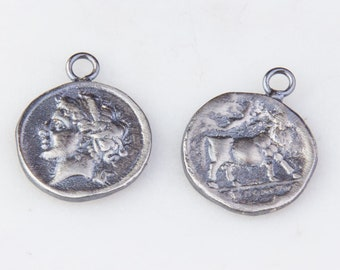 18mm Roman, Greek Medallion Coin Charm in Oxidized Sterling Silver, Medallion Pendant, Ancient Roman, Greek Coin Charms,Double Sided HCIN257