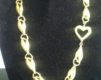 80's Gold Heart Burnished Gold Necklace