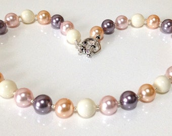 Large Swarovski Crystal Pearls in White, Peach, Mauve, Rosaline Pink / Swarovski Pearl Necklace / Sterling Silver Pearl Necklace