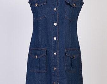 Vintage Denim Dress, Jeans Dress,Jeans sarafan,Sarafan dress, Botton Up Denim Dress, Sleeveless Dress, Size L