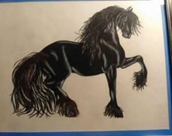 OOAK Original frisonnes cheval dessin au crayon de couleur