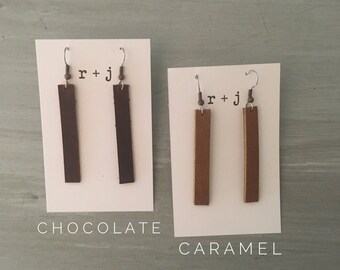 Leather earrings - bars, genuine leather, lightweight, multiple colors / Brown leather earrings / Bar earrings / Lightweight earrings