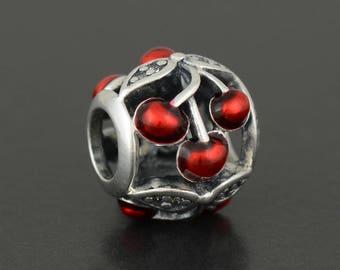 New Authentic Pandora Charm Bead Red Enamel Sweet Cherries 791900EN73