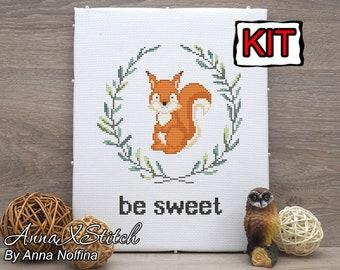Squirrel cross stitch kit baby by AnnaXStitch - Embroidery kit beginner - Printed Cross stitch pattern modern nursery - needlepoint kits