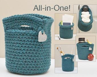 READY TO SHIP Crochet Tote Organizer Basket, All-in-One Storage, Small Storage Bin, Office Organizer, Lunch Tote, Snack Bag, Desk Organizer