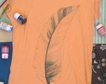 Feather hand painted t-shirts