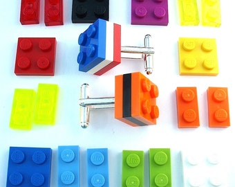 3 Tier Cufflinks - silver plated - Handmade with LEGO(r) Bricks