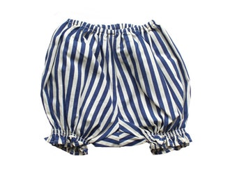 FRENCH vintage 70's / for baby girls / bloomers / striped cotton / new old stock / size 6 months
