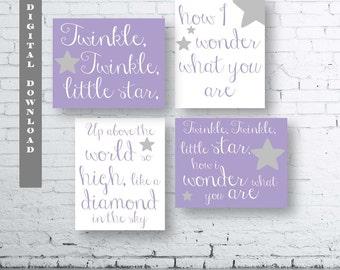 TWINKLE TWINKLE Little Star Print-Instant Download-Set of Four (4).Twinkle Twinkle Little Star Art.Twinkle Twinkle Little Star Nursery Print