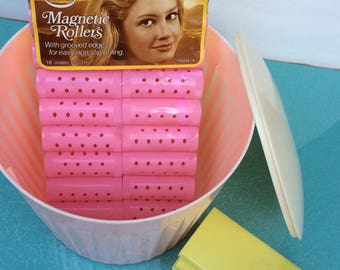 Vintage vanity beauty products salon pink canister container rollers towelettes