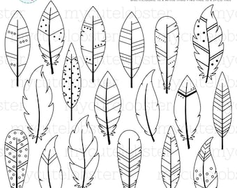 Feathers Digital Stamps - feather outlines, line art, stamps, coloring - personal use, small commercial use, instant download
