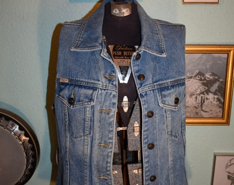 Vintage 90s Jean Vest or Button Up Top, EXP jeans by express