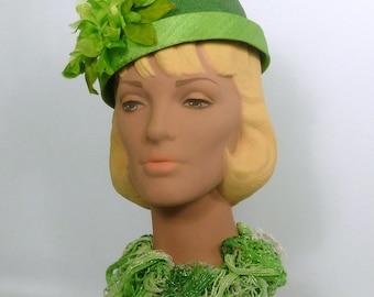 Green on Green Pillbox Straw Hat - Vintage Flowers - Green Strawcloth Trim - Hand Blocked and Sewn - Church - Wedding