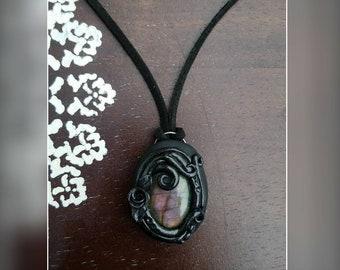 Labradorite Princess necklace. Faux leather