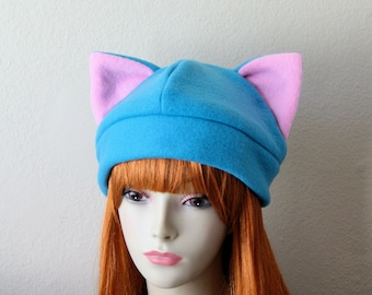 Fleece Cat Hat / Bright BLUE + BUBBLEGUM PINK Beanie Style Cute Anime Neko Cosplay Cat Ears Kitty Kawaii Pastel Goth Japanese Fashion