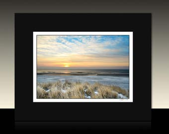 Winter Beach Sunrise Matted Print, Seascape theme, Ocean City New Jersey, Coastal wall art, Ready for framing or Framed