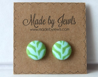 Green and Blue Leaf Handmade Fabric Covered Hypoallergenic Button Post Stud Earrings 10mm