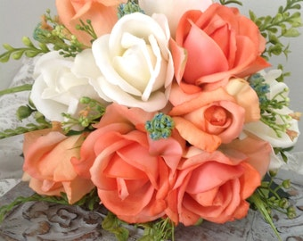 Artificial peach rose garden bridal bouquet,peach and blue wedding,peach and cream bridal bouquet,garden bridal bouquet,country bouquet,