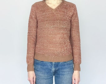 1970s Rust and Tan Marled Knit Sweater (S)