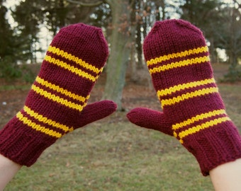 Harry Potter Gryffindor Knit Mittens - Red Gold Stripes Hand Knitted Mitts - Harry Potter Inspired Costume Accessory - Gryffindor Mittens