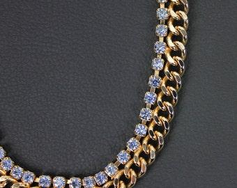 Blue Rhinestone & Gold Tone Vintage Necklace