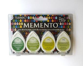 Memento Dye Ink Pads, Greenhouse, DewDrop 4 Pack, Green Ink pads, Green Stamp Pad, Tukeneko Ink