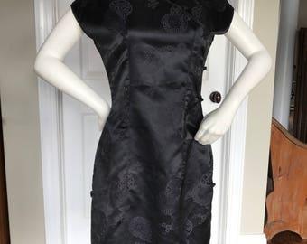 Vintage black silk? cheongsam dress