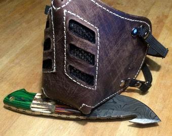 "Leather MasK ""killer bug"" [Legend motorcycle 3] by SanDiegoChopper (brown leather box beige stitching) biker / caferacer / bratstyle / chopper"