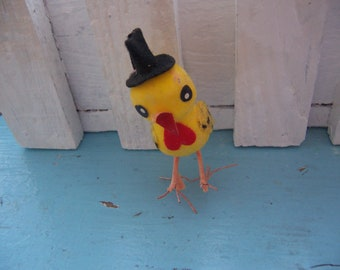 little yellow chick with hat