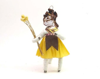 Spun Cotton Vintage Style Lady Kitty Figure/Ornament (MADE TO ORDER)