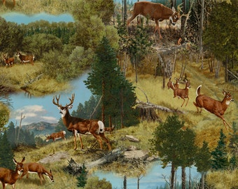 Remington Whitetail Ridge Deer Scenic Fabric From Quilting Treasures