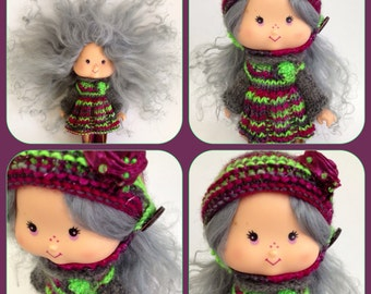 PDF knitting pattern - Cozy comforts set for vintage Strawberry Shortcake doll.