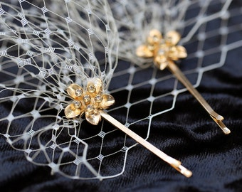 Champagne Color Bandeau Style Veil 9 inch French Net on Rhinestone Bobby Pins, Golden Hair Pins