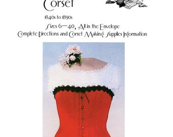 Ladies' Victorian Corset 1840s-1890s  sizes 6-40 Laughing Moon Bijoux Sewing Pattern #1