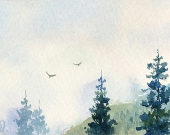 Original watercolor ACEO painting - Into the mist