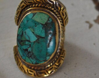 Vintage Brass and Turquoise Ring