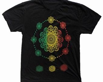 Men's This is NOW Hand Drawn Mandala T-Shirt Sacred Geometry Clothing Flower of Life Shirt