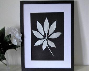 Framed Botanical Leaf Painting